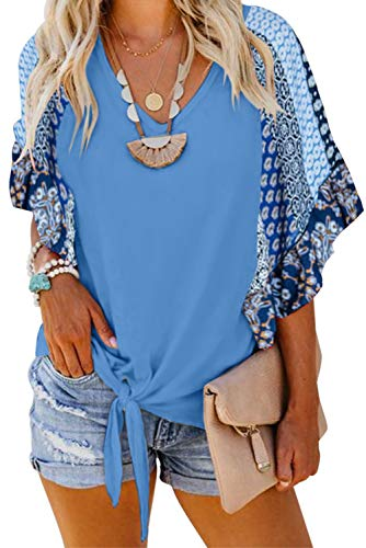 - Asvivid Womens Summer Ethnic Floral Printed Tops V Neck Chiffon Flare Short Sleeve Vacation Blouses Plus Size 1X Blue