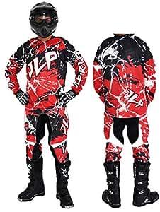 JLP Racing - Traje de motocross para niño de 10-12años, para quad, bici de montaña, BMX, MTB, pantalón, guantes y camiseta, color rojo, talla XL