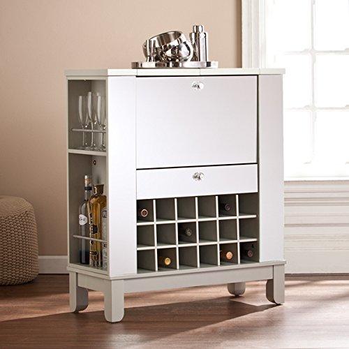 Harper Blvd Martindell Mirrored Fold-Out Wine/ Bar Cabinet, Silver