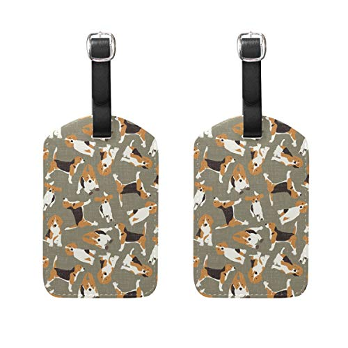 Beagle Scatter Stone Luggage Tags Suitcase Labels Travel ID Cover Travel Accessories Set of 2