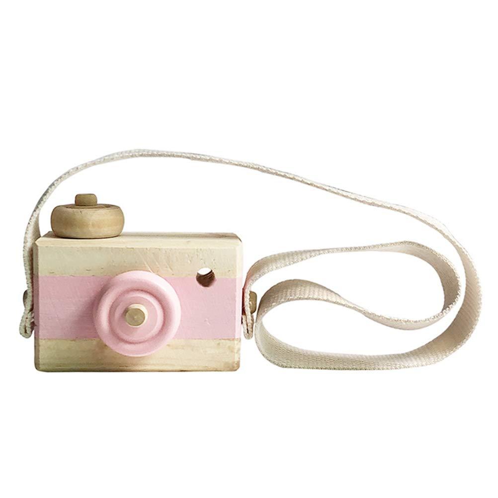 Vosarea Holzkamera, Mini Kamera Spielzeug Kinderzimmer hängen Dekor Foto Props Geburtstagsgeschenk für Kinder (Pink)