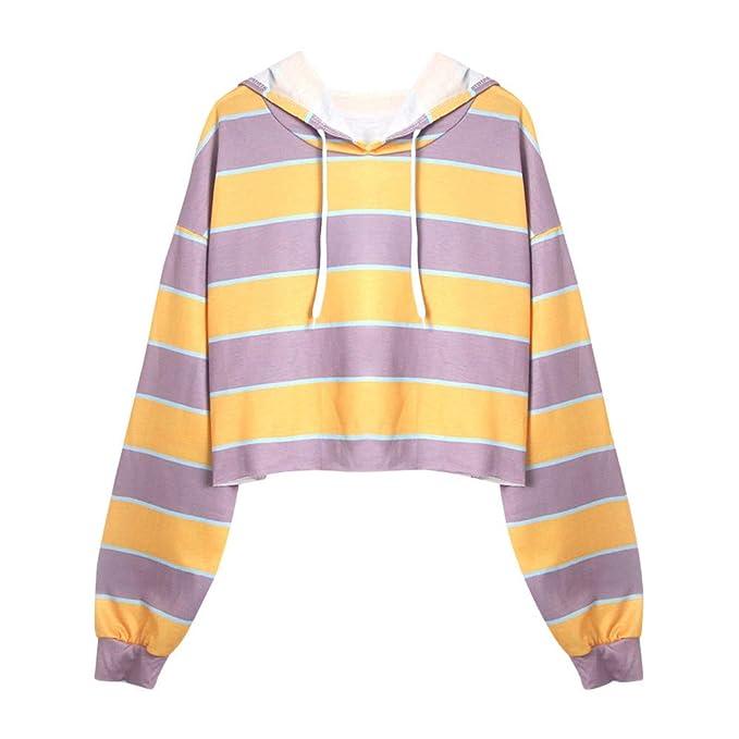 Yesmile Mujer Camisetas❤️Las Mujeres Camisa Sudadera con Capucha Rayada de Manga Larga para Mujer Blusa con Capucha Casual con Capucha: Amazon.es: Ropa y ...