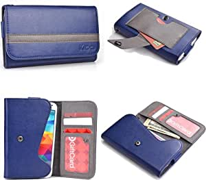 Blue Grey Mens | Womans Wallet Phone Duo Fits Prestigio MultPhone 4500 Duo +NuVur KeyChain ESMLGPB1