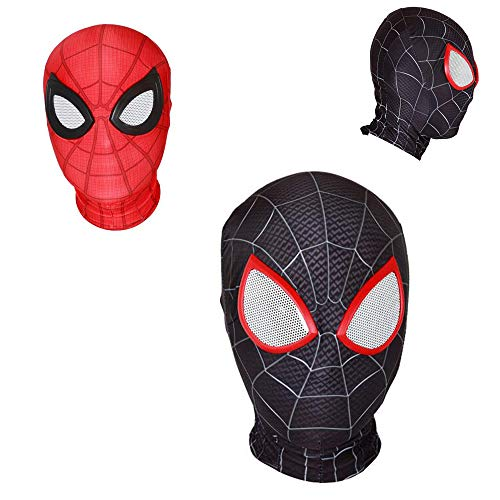 Cosplay Movie The Avengers Super Hero Spiderman Homecoming Zipper Mask Full Headgear Eyes Head Helmet Halloween Party Props (Red, for Child)