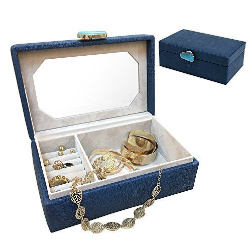 A Comely One-Layer Jewelry box Accessories Storage Organizer Case, Faux Shagreen Leather, Delicate Agate Handle Design with Mirror (Navy)