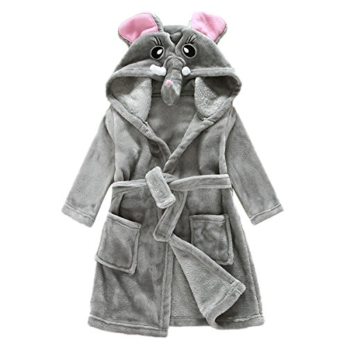 JUNG KOOK Toddler Baby Boys Girls Cartoon Bathrobe Flannel Robe Winter Night-Robe]()