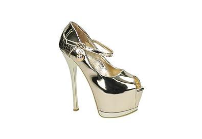 Jumex Luxus High Heels _ Party Pumps _ Peep Toe Damen Schuhe _ Designer  Absatz _ Riemchen Glitzer _ BATS6203: Amazon.de: Schuhe & Handtaschen