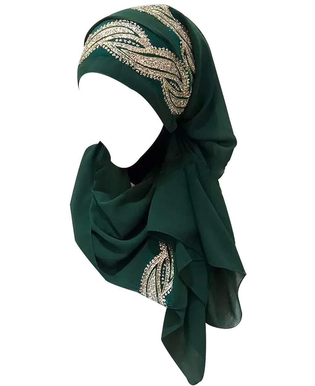 zhbotaolang Musulm/án Mujer Chal Turbante Velos India Largo Hijab Pa/ñuelo en la Cabeza Isl/ámico Servicio Religioso Bajo el Pecho