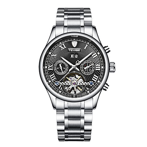 Men's Swiss Automatic Movement Watch Stainless Steel Date Skeleton Tourbillon Watch (Black) ()