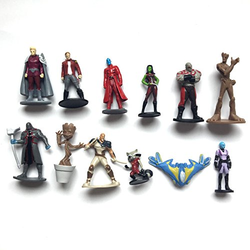 [12pcs Guardians of the Galaxy 2 Action Figures Dancing Groot Rocket Raccoon Toys] (Cufflinks Signed)