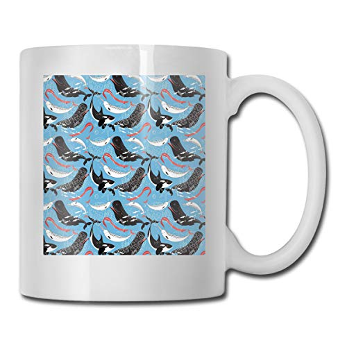 Funny Ceramic Novelty Coffee Mug 11oz,Arctic Giant Sea Mammals Orca White Whale Narwhal Sketch Ocean Fauna,Unisex Who Tea Mugs Coffee Cups,Suitable for Office and Home ()