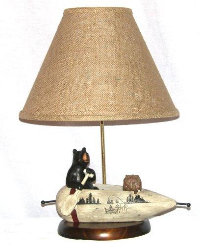 - A Ray Of Light 101533 Black Bear Rowing A Canoe Table Lamp