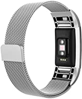 For Fitbit Charge 2 Bands, Vancle Adjustable Milanese Loop Stainless Steel Metal Band Bracelet Strap with Magnetic Closure Clasp, No Buckle Needed for Fit Bit Charge 2 HR Fitness Tracker (Black, Large)