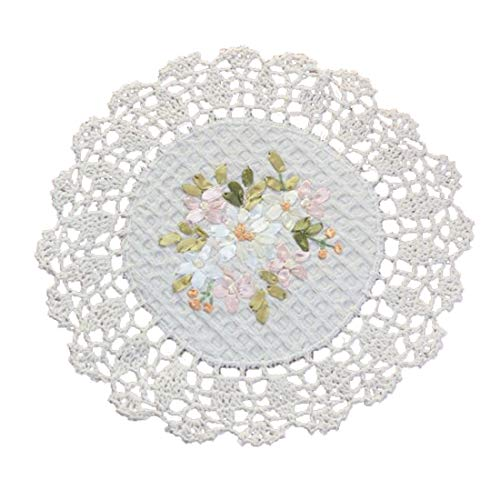 YoumeHome Handmade Crochet Round Lace Doilies Vintage Ribbon Embroidery 9.5 inches Pack of 6