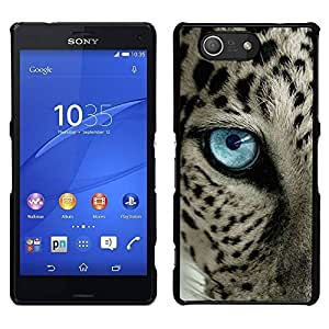 // PHONE CASE GIFT // Duro Estuche protector PC Cáscara Plástico Carcasa Funda Hard Protective Case for Sony Xperia Z3 Compact / ocelot blue black spots blue eye cat /
