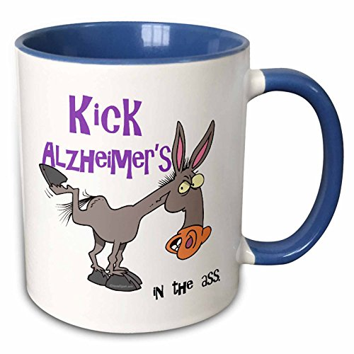 - 3dRose 115577_6 Kick Alzheimer's In The Ass Awareness Ribbon Cause Design Two Tone Blue Mug 11 oz White