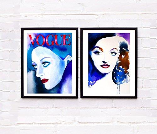 Set of 2 Art Prints Fashion Icons Bette & Joan Old Hollywood 1940s Illustrations of Original Watercolor Blue Vogue Interior Design Salon Decor (1950 Hairdos)