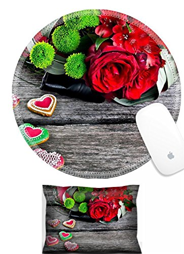Luxlady Mouse Wrist Rest and Round Mousepad Set, 2pc IMAGE: 22968315 Wedding Bouquet with Heart shape Gingerbread on wooden background