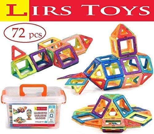 LIRS TOYS Magnetic Building Blocks Toy - 72 pcs Set of Fun, Creative, Educational 3D Construction. Plastic Tiles for Kids Age 3+ with Carry Case and Alphabet Squares. For Boys and Girls