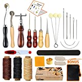 Arts & Crafts : Leather Sewing Tools SIMPZIA 17 Pieces Leather Tools Craft DIY Hand Stitching Kit with Groover Awl Waxed Thimble Thread for Sewing Leather, Canvas or Other Leathercraft Projects