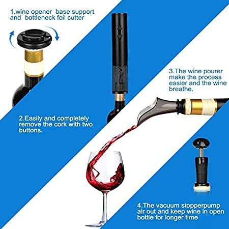 ZLININ Abrebotellas de vino eléctrico, abridor de botellas de vino automático sin cable, sacacorchos con cortador de hoja/aireador de vino vertedor/tapón de vacío