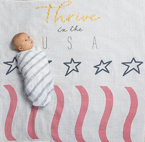 Amazing Baby Swaddle Studio Muslin Blankets, Set of 3, Thrive in the USA, Denim - Denim Baby Bedding
