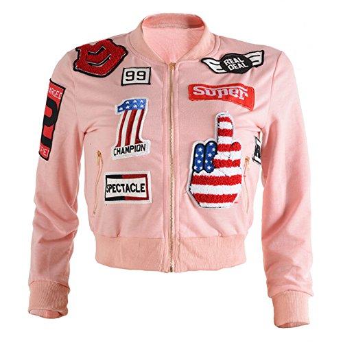 hibote Señoras de las mujeres del remiendo de la chaqueta con capucha del bombardero / mangas largas Rosado