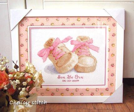 Girl Cross Stitch (Hiyoli Girl Baby Birth Record Counted Cross Stitch Kit)