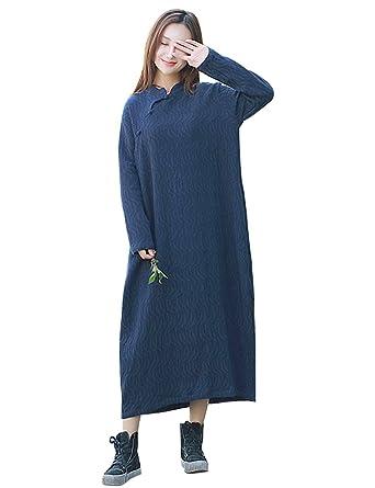 09f5d93270e IDEALSANXUN Women s Long Sleeve Cotton and Linen Long Baggy Dress Robe with  Pockets (Free