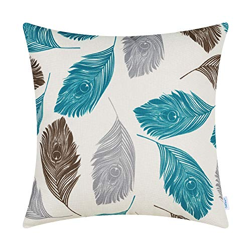 CaliTime Canvas Throw Pillow Cover Case for Couch Sofa Home Decoration Peacock Feathers 20 X 20 Inches Grey Brown Lake Blue