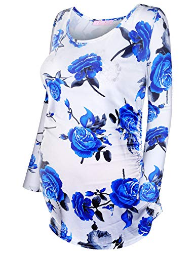 - JOYMOM 2X Pregnancy Shirt,Floral Maternity Tunic Postpartum Tops for Women Long Blouses Pleated Side Flare Hem T-Shirt Comfortable Loose Fitting Clothing White Blue Flower
