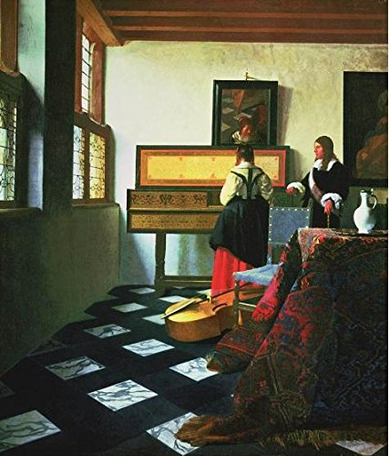 The Polyster Canvas Of Oil Painting 'Johannes Vermeer,The Music Lesson,1662-1665' ,size: 18x21 Inch / 46x54 Cm ,this Art Decorative Prints On Canvas Is Fit For Living Room Decor And Home Artwork And Gifts