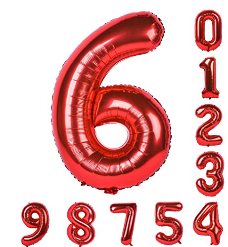 Birthday Party Red Balloons 0-9(Zero-Nine) 40 Inch Numbers Mylar Decorations of Arabic Numerals 6