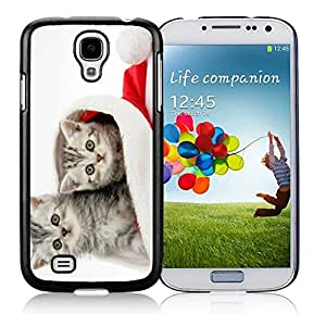 Popular Design Cats In Red Christmas Hat Black TPU Protective Skin For Samsung I9500,Samsung Galaxy S4