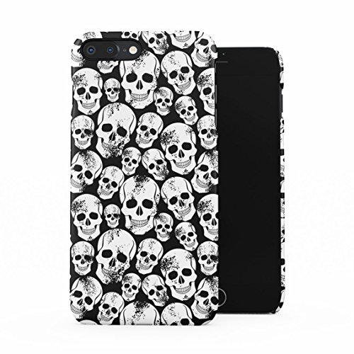 Grunge Gothic Skeleton Punk Rock Mini Skulls Pattern Plastic Phone Snap On Back Case Cover Shell for iPhone 7 Plus & iPhone 8 Plus