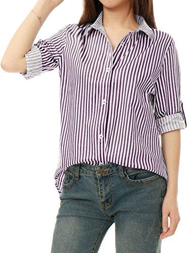 Allegra K Women's Striped High Low Hem Roll Up Sleeves Shirt Dark Purple White L (Down Stripe Cotton Button Shirt)
