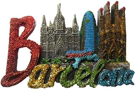 スペイン、バルセロナ 冷蔵庫マグネットおかしい3D樹脂マグネット冷蔵庫旅行お土産ギフトホームキッチン装飾マグネットステッカー工芸