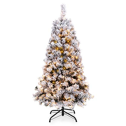 Best Choice Products 4.5ft Pre-Lit Snow Flocked Artificial Christmas Pine Tree Holiday Decor w/ 200 Warm White Lights (1/2 Artificial Tree Christmas)