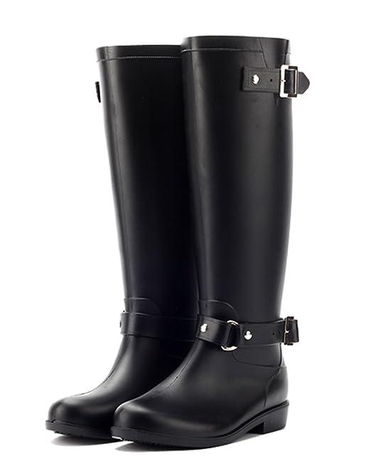 Minetom Mujer Moda Impermeable Botas De Moto Hasta La Rodilla Zapatos Cargadores De Martin Cremallera Cerrada Botines De Lluvia: Amazon.es: Zapatos y ...