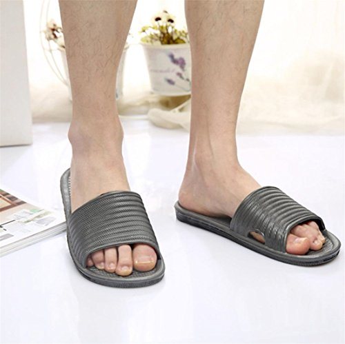 Malloom® Sandalen, Herren Sommer Indoor Schuhe Sandalen Streifen flach Bad Hausschuhe Flip-flops Grau