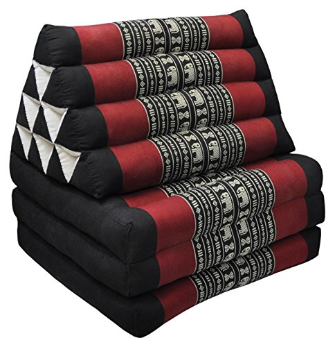 Tungyashop@thai Traditional Cushion 67x21x3 Inches Kapok Mattress (Red-Black, 3 Fold) by NOINOI