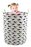 19.7'' Large Sized Waterproof Laundry Hamper Cylindric Ramie Cotton Fabric Collapsible Storage Basket (Blue)