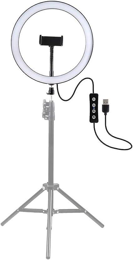 Todo para el streamer: Smartrich Regulable LED Luz del Anillo con soporte para trípode Selfie Desk, 10.2/11.8in 3 modos Regulable Anillo de luces LED Maquillaje, Selfie, Transmisión en vivo, Grabación de video en YouTube