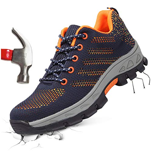 FEETCITY Unisex Work Shoes for Men and Women, Industrial Construction Outdoor Casual Steel Toe Sneakers, Waterproof Puncture Proof Safety Footwear Navy Orange (W:10.5/M:8) - Puncture Waterproof