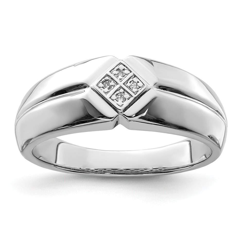 Sterling Silver 3 MM Diamond Mens Ring