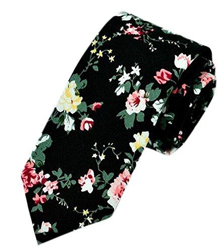 Flower Ties for Men,Mens Ties,Skinny Tie,Floral Printed Cotton Neck Tie Slim