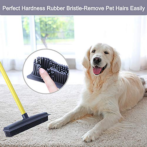 Push Broom - Soft Bristle 59'' Rubber Broom Carpet Sweeper with Squeegee Adjustable Long Handle, Removal Pet Human Hair by NZQXJXZ (Image #4)