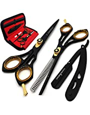 Saaqaans SQKIT Professional Hairdressing Scissors Set - High Quality Stainless Steel Sharp Razor Edge 6 inches Hairdresser Shears Set - Package includes 1 x Barber Scissor + 1 x Thinning Shear + 1 x Straight Edge Cut Throat Shaving Razor + 1 x Hair Comb with Beautiful Luxury Black Scissors Pouch / Case absolutely FREE!!