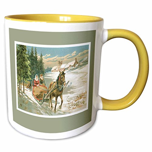 Sleigh Tone Two (3dRose BLN Vintage Christmas Designs - Vintage Christmas Card with a Couple in a Horse drawn Sleigh on a light Green Background - 11oz Two-Tone Yellow Mug (mug_149599_8))