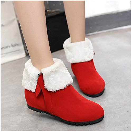 Warm Winter Boots Snow Hidden Short Booties Red Women Shoes Heel TAOFFEN wE5Bzz